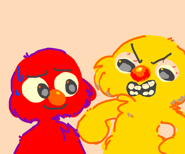 Elmo and his evil yellow cousin