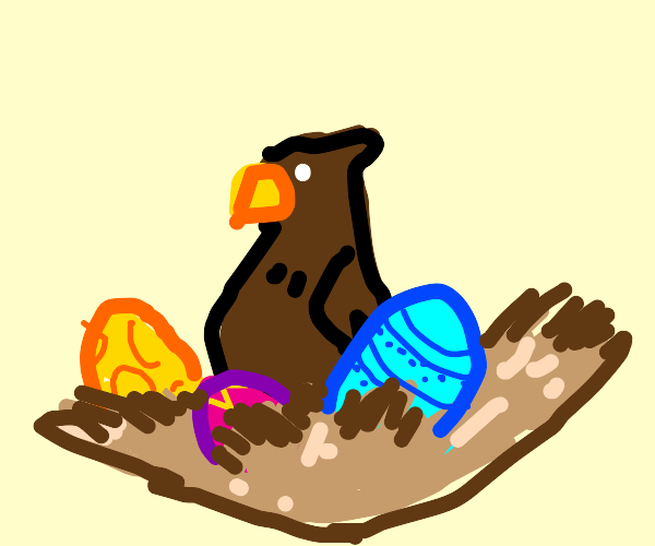 Big brown bird in a nest with easter eggs