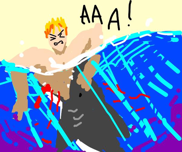 Man getting eaten by a shark