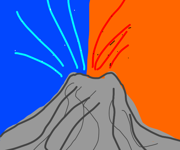 volcano erupting both lava and water