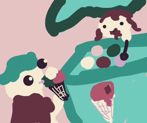 Ice cream stand. Triple scoop cone!