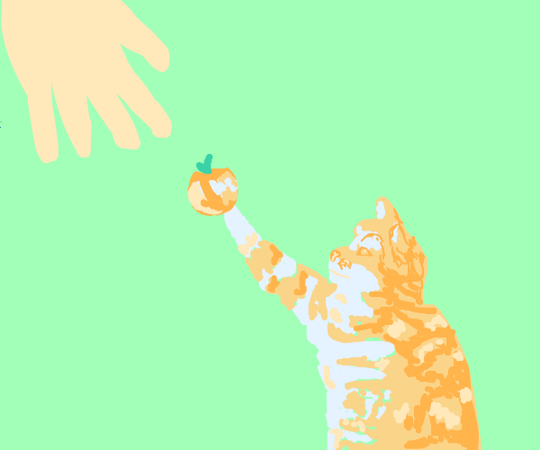 Cat selling apples to a lady
