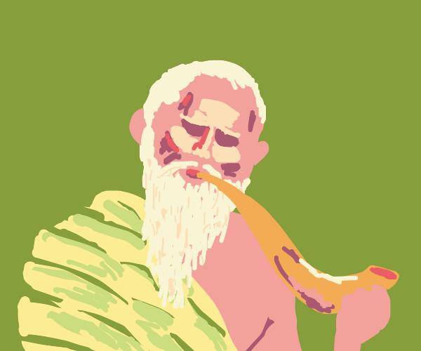 Old man smoking a blunt