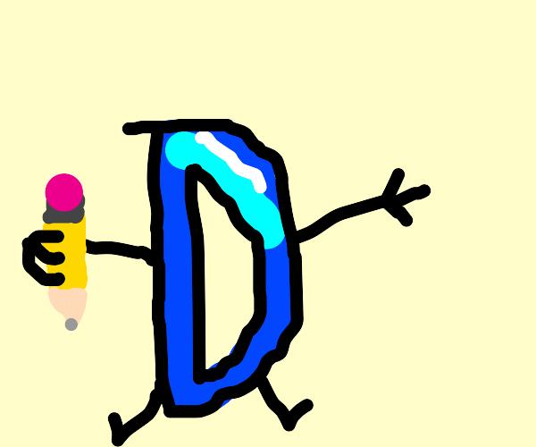 drawception logo holding a pencil