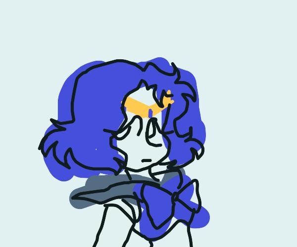 Cute blue hair girl with forehead pendant