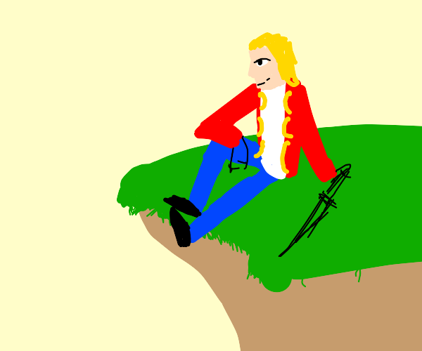 King with sword on a cliff