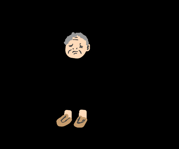 Old man has no body, only head and foots
