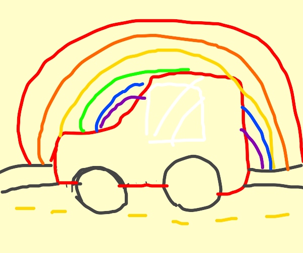 a road with a rainbow and red car