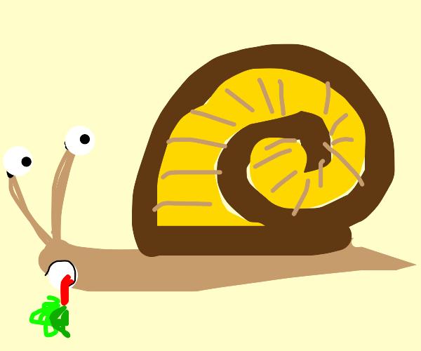 snail having lunch