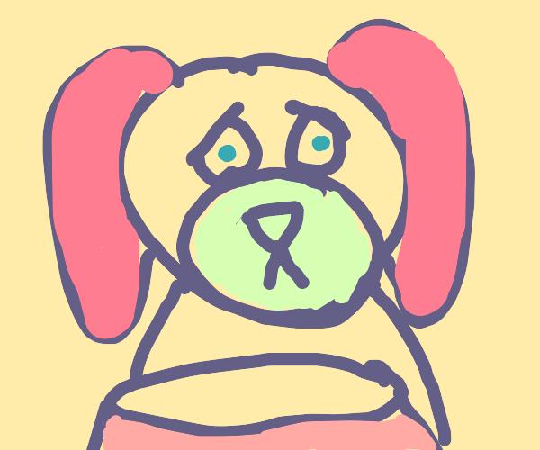 heartbroken dog in front of empty waterbowl
