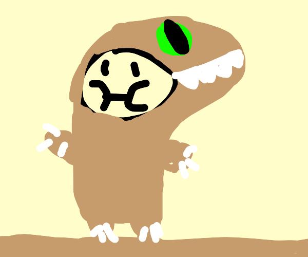 guy  wearing a dinosaur costume