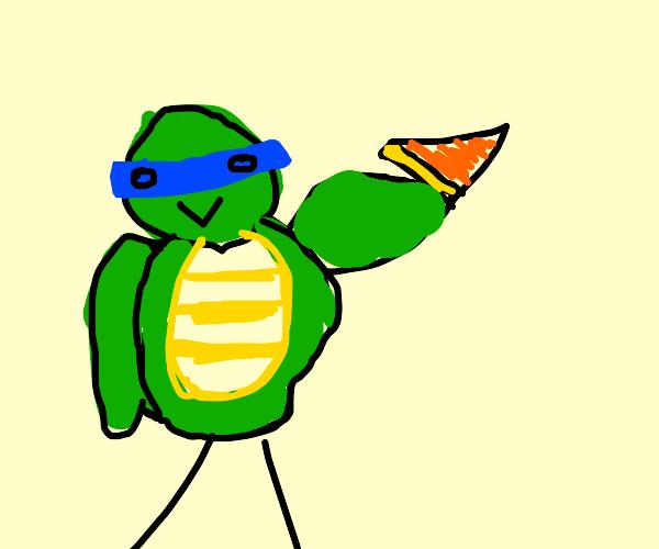teenage muting the ninja turtle eats pizza