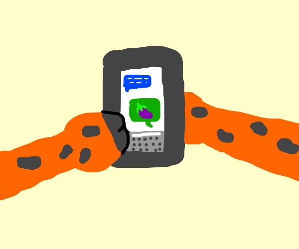 Giraffe texting Eggplant