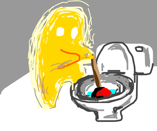 A strange yellow entity unclogging a toilet