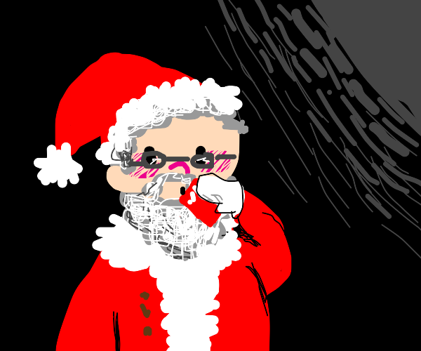 santa sipping a cola in the dark
