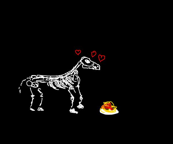 skeleton horse loves spaghetti