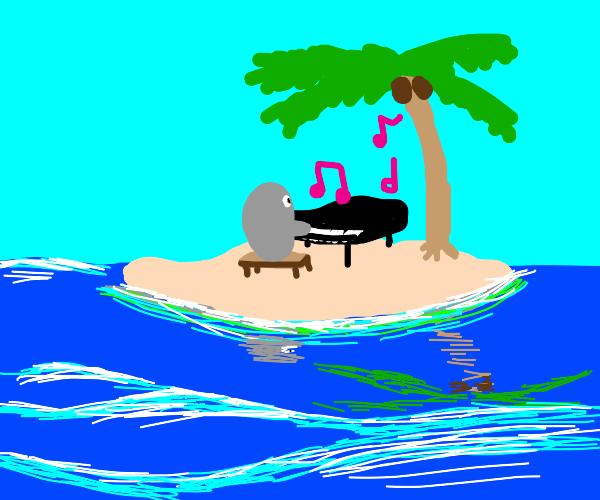 Grey blob playing piano on a desert island