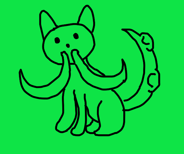 green cat with tusks and a tentacle tail.