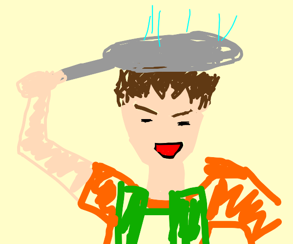 Brock using his Frying Pan as a Drying Pan