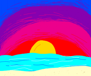 Colorfull sunset at beach