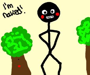 Naked stickman in wilderness