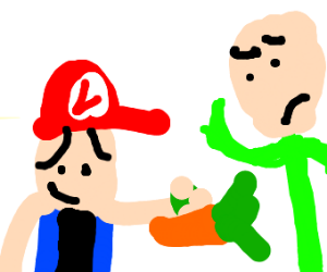 dude pays confused bald man with carrots