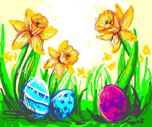 Easter eggs in the garden