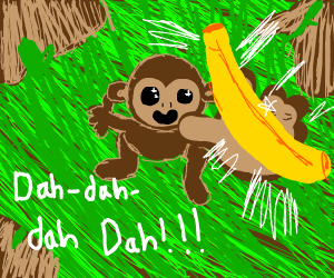 Monkey presents its banana