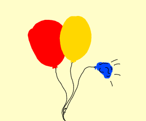 Primary balloons, in which the blue is popped
