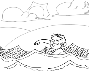 Smug man swimming