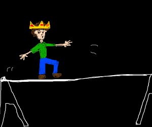 King friday, the naked, walks the tightrope