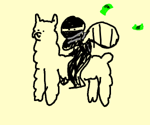bank robber riding away on alpaca