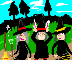 Witches chill outside