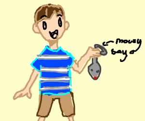 Boy playing with a mouse.