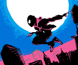 Miles Morales infront of city nightscape