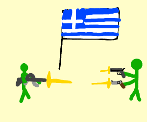 green guys shooting at each other in greece