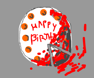 Happy Birthday Cake with blood on it