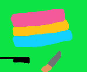 Knife and a pot with a pansexual flag