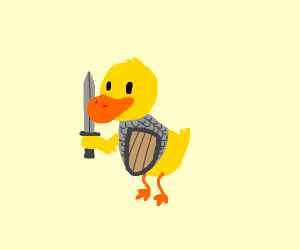 Warrior duck with chainmail and sword