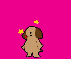 Cute dog borks