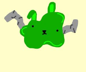 Sad green rabbit blob with ore arms