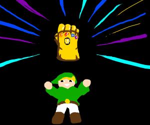 Zelda cartoon Link with the Infinity Gauntlet