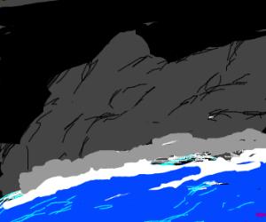 Wave crashing on mountain