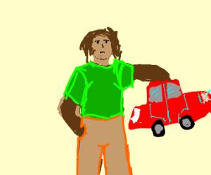 man picking up a car