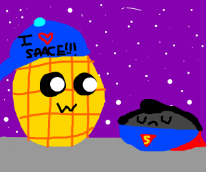 space waffle next to super man as a rock