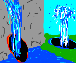 Waterfalls are wormholes