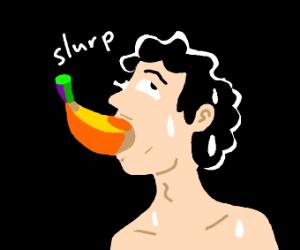 man inhales a banana with a 'slurp' sound