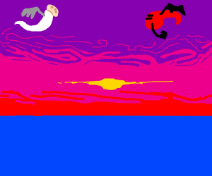 Angel meets a devil during sunset