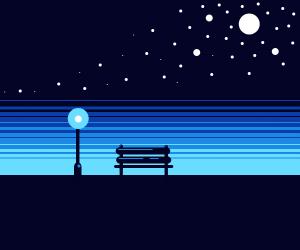 a park at midnight