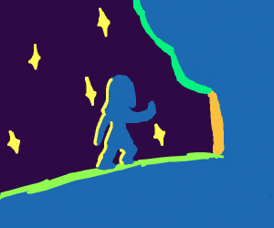 person walking beneath the stars and to a tre
